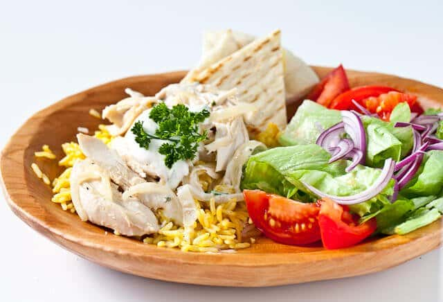 Leftover Turkey Recipe: Halal Cart Style Turkey and Rice with White Sauce