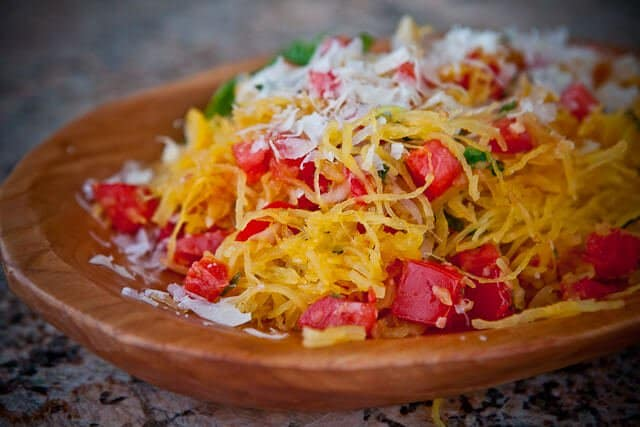 Microwave Spaghetti Squash with Tomatoes & Basil - Steamy Kitchen ...