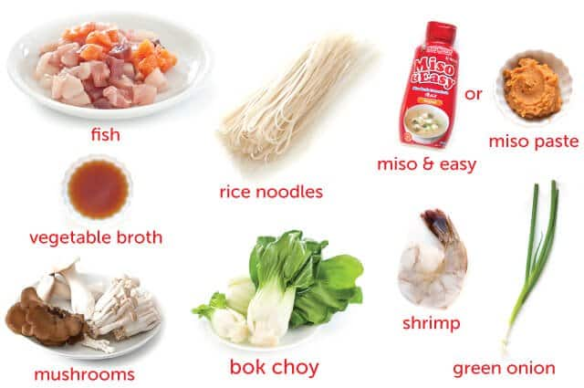 ingredients for seafood noodle soup