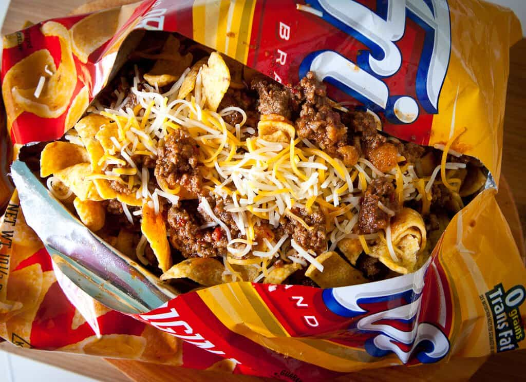 frito pie with 1 hour texas chili steamy kitchen recipes