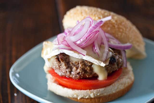 Lamb Burgers with Brie and Quick Pickled Red Onion Recipe