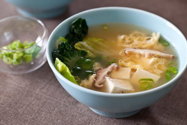 Miso Soup With Mushrooms And Tofu