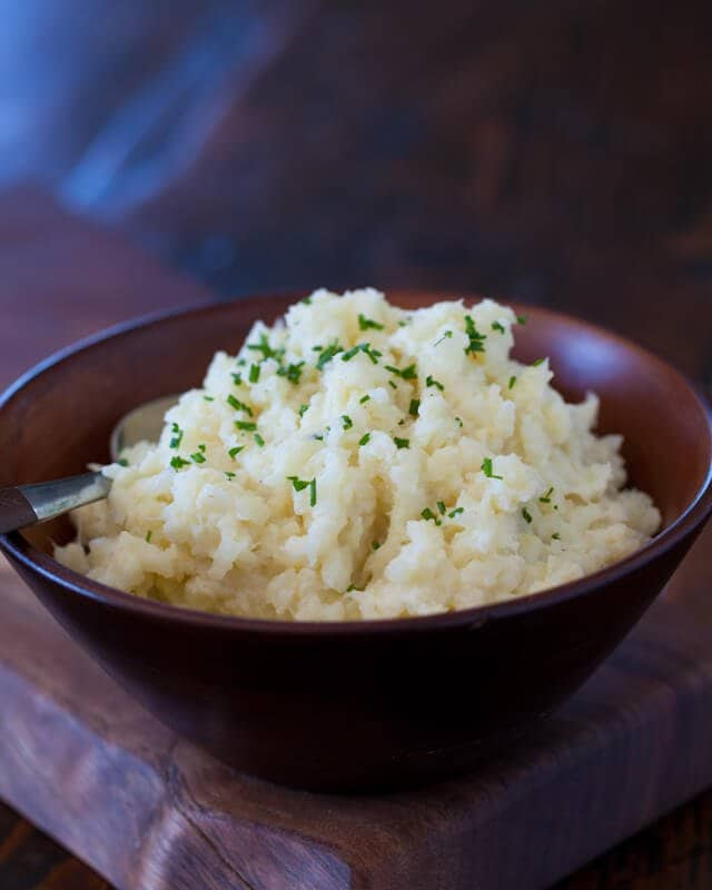 Cauliflower Mashed Potatoes Recipe: top with chives