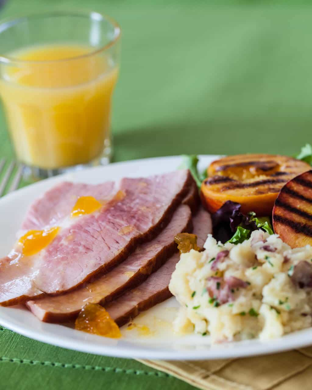 Ham with Grilled Peaches Recipe