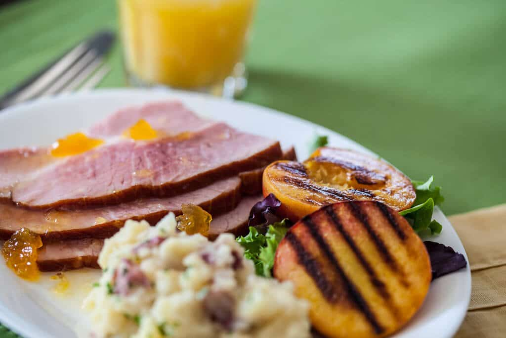 plate of Ham with Grilled Peaches