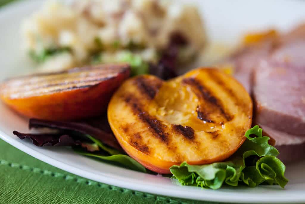 Grilled Peaches on plate
