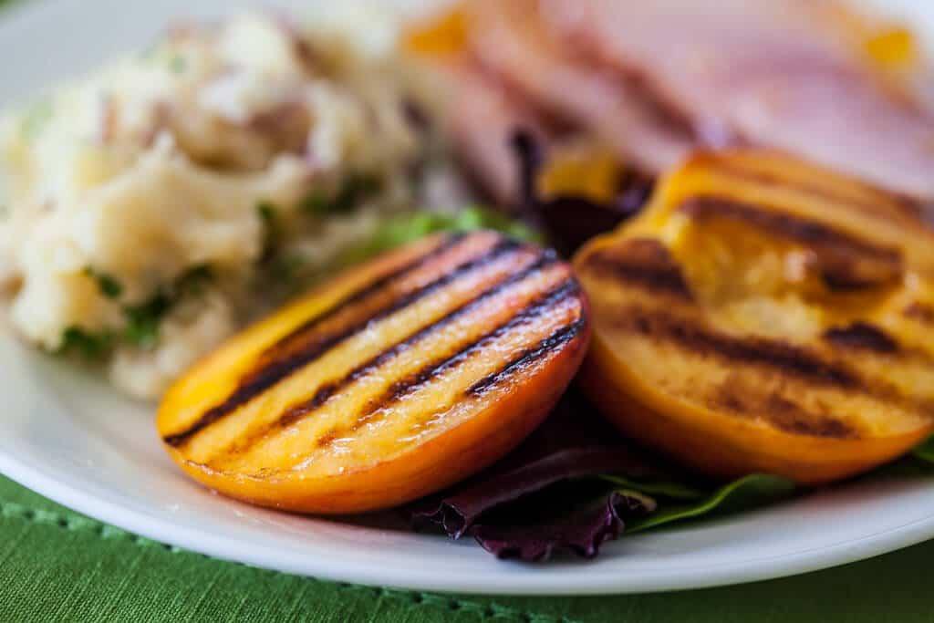 close up of Ham recipe with Grilled Peaches Recipe