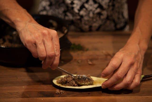 add meat mixture Stuffed Miso Eggplant Recipe