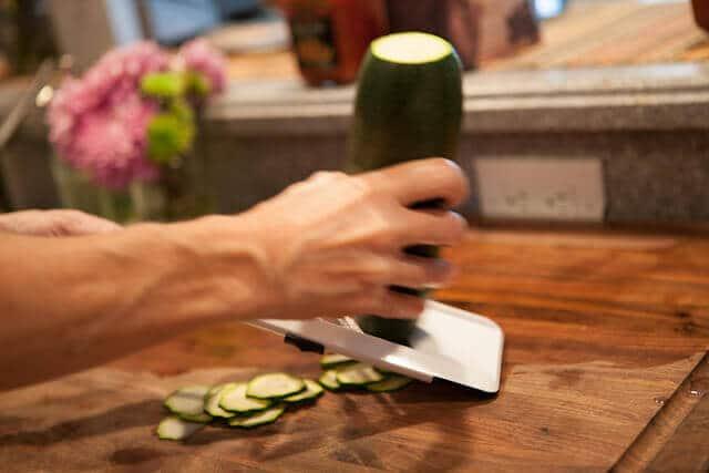 slicing zucchini for Zucchini Frittata Recipe