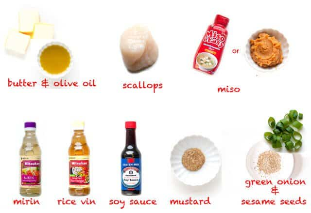 Ingredients for Scallops with Mustard Miso Sauce Recipe