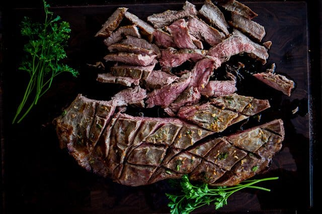 Asian Flank Steak cut up