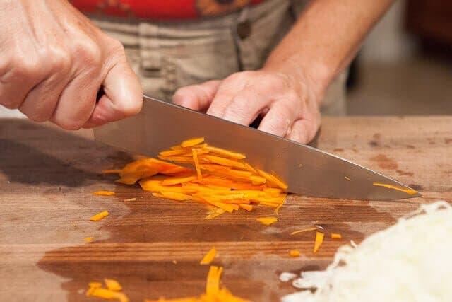 Julienne cut carrots
