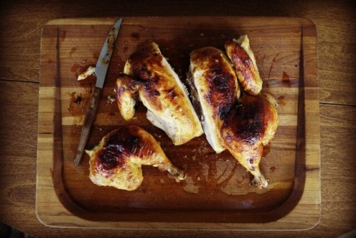 roast chicken on board