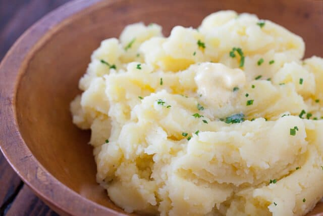 Very Best Mashed Potatoes no milk recipe - top with chives if you wish