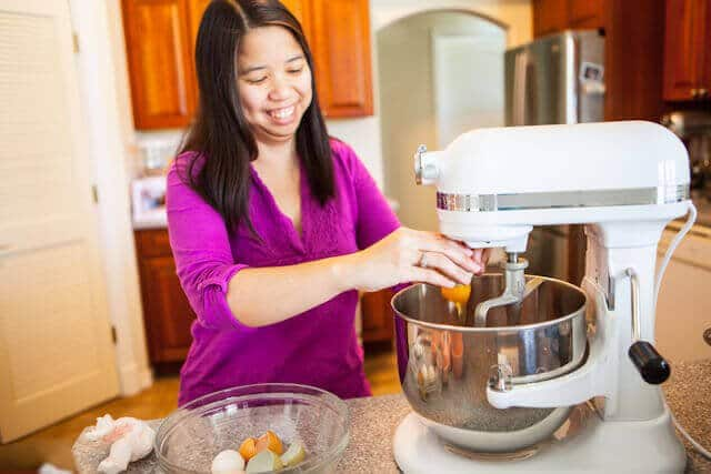 Julie making cake batter
