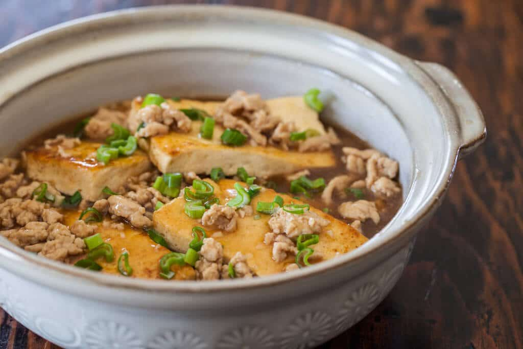 minced pork and tofu in bowl
