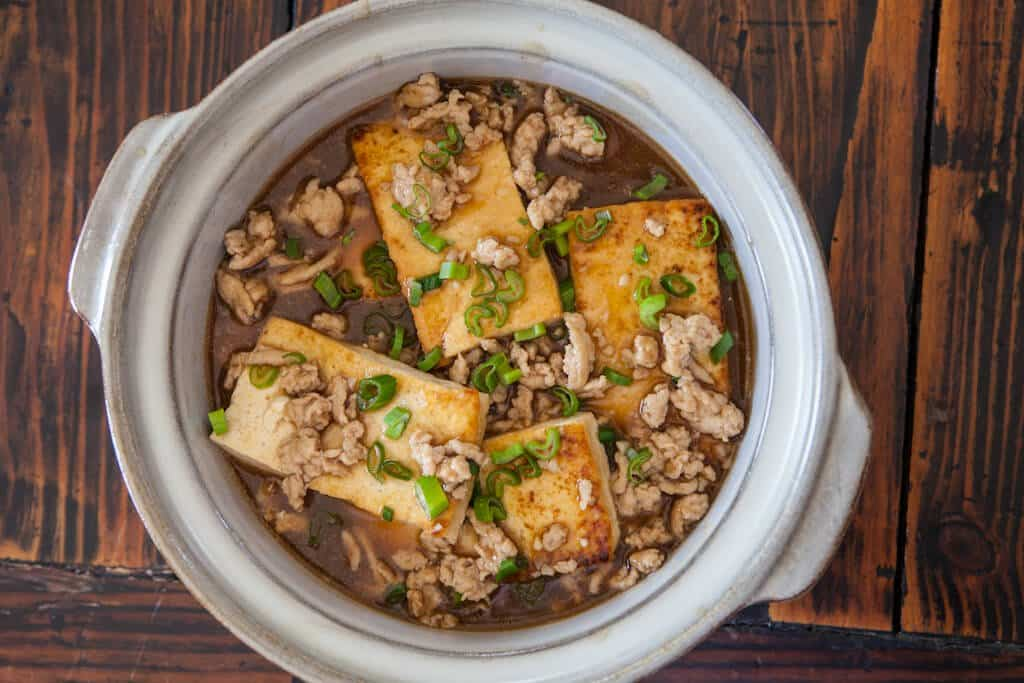 Chinese Braised Tofu with Ground Pork in a bowl