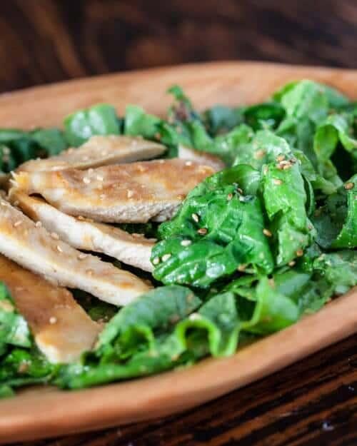 Chicken salad in a brown bowl
