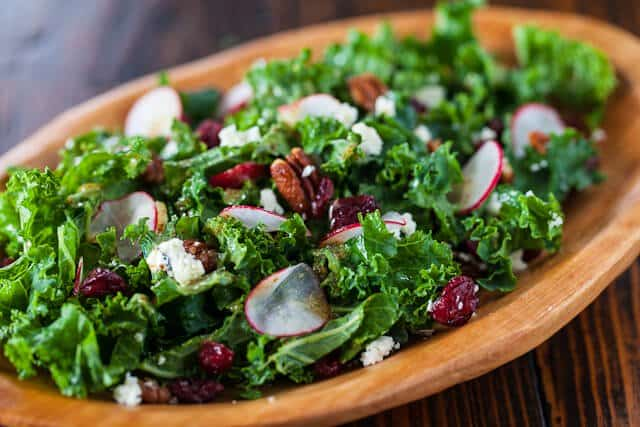 Kale Salad with Cherries and Pecans