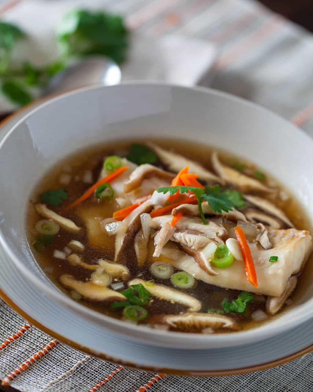 Cod in garlic ginger broth steamy kitchen recipes for Fish soup recipe cod