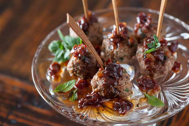 Kofta Meatballs with Sweet and Sour Cherry Sauce