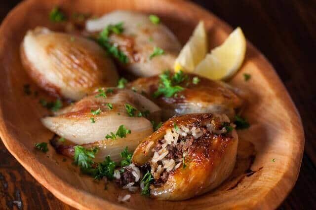Lebanese Roasted Stuffed Onions in bowl