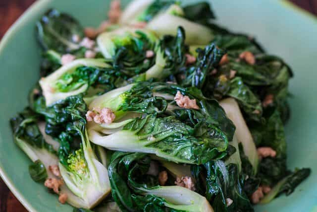 Baby Bok Choy with Ground Chicken Stir Fry • Steamy Kitchen Recipes