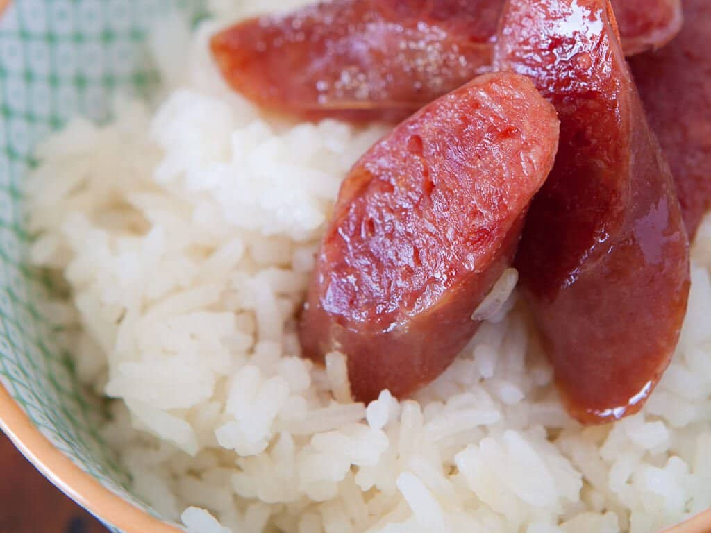 Chinese Sausage and Rice Recipe - sliced sausage
