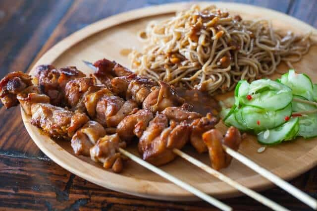 Chicken Satay with Peanut Noodles and Cucumber Salad Recipe