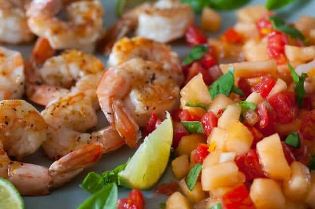 Grilled Shrimp with Cantaloupe-Lime Salsa Recipe