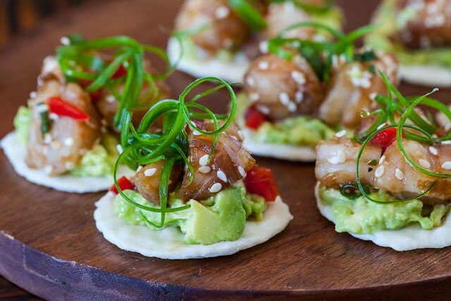 Wasabi Shrimp with Avocado on Rice Cracker • Steamy Kitchen Recipes