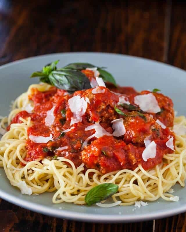 Healthy Spaghetti and Meatballs: 2 Secret Ingredients - Steamy Kitchen Recipes