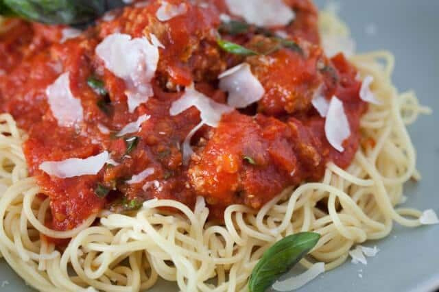 Spaghetti with Turkey Tofu Meatballs Recipe