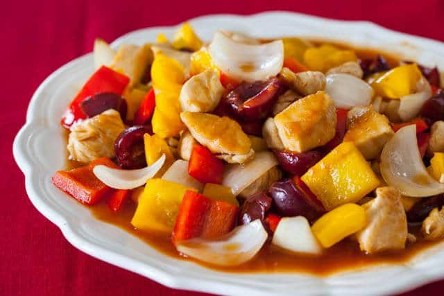 sweet and sour chicken with cherries recipe featured-9534