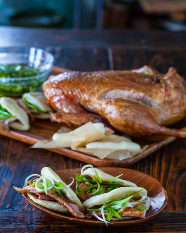 chinese roatsed duck and steamed buns