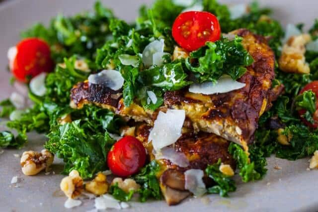 spicy kale salad with miso mushroom omelette recipe-9821