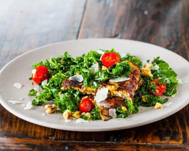spicy kale salad with miso mushroom omelette recipe-9823