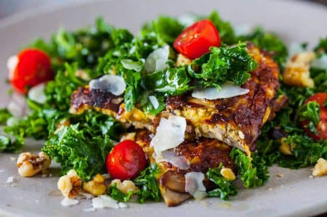 spicy kale salad with miso mushroom omelette recipe-9829