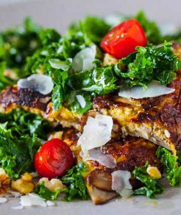spicy kale salad with miso mushroom omelette recipe featured-9829