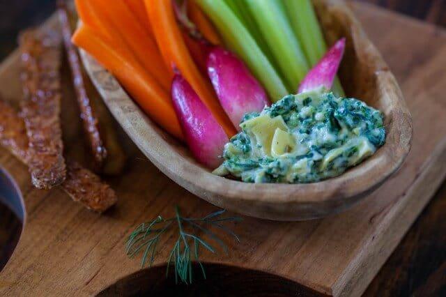 Garlicky Spinach Artichoke Dip with Tofu Fries Recipe