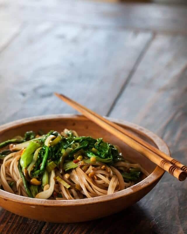 Satay Noodles and Greens in bowl