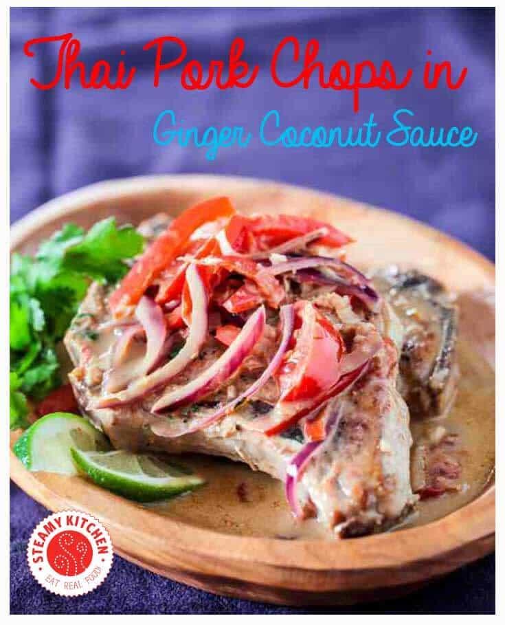 Thai Pork Chops with Ginger Coconut Sauce Recipe | steamykitchen.com ~ http://steamykitchen.com