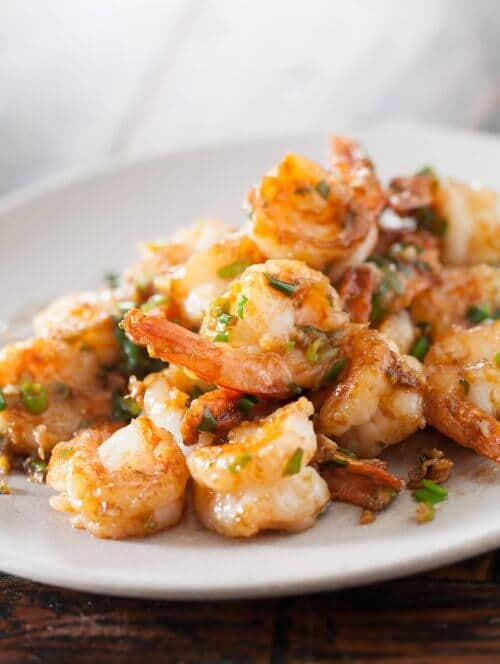 shrimp stir fry on white plate