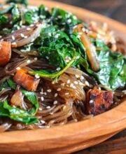 Korean Japchae Noodles Recipe Vegetarian