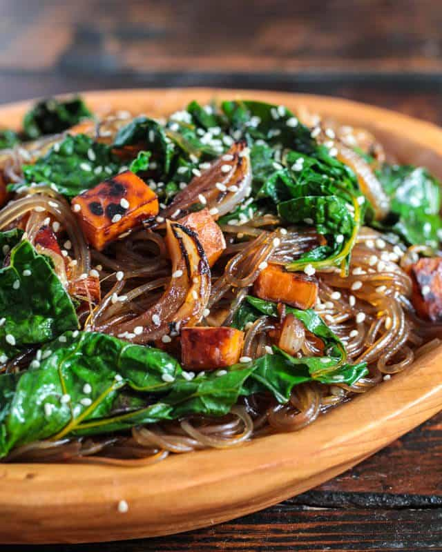 Korean Japchae Noodles Recipe Vegetarian