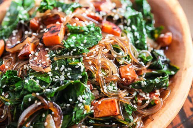 Vegetarian korean japchae noodle recipe steamy kitchen recipes korean japchae noodles recipe vegetarian forumfinder Gallery