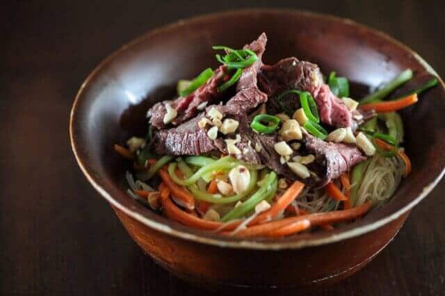 Rice noodle salad with grilled steak recipe