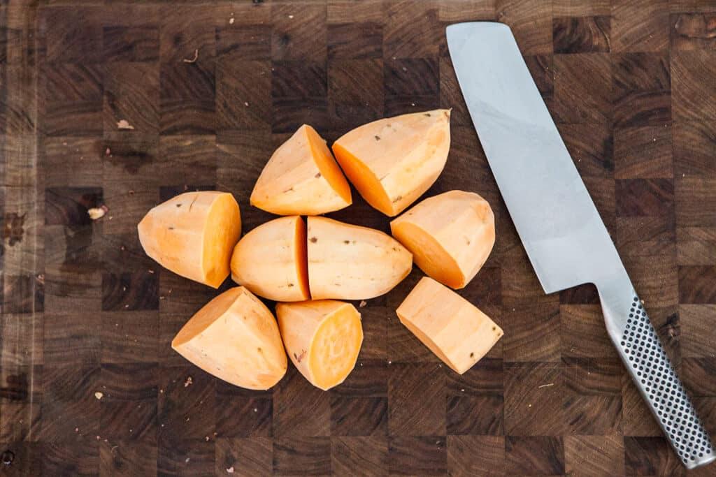 Sweet Potato Casserole Recipe - Peel & Cut Sweet Potatoes