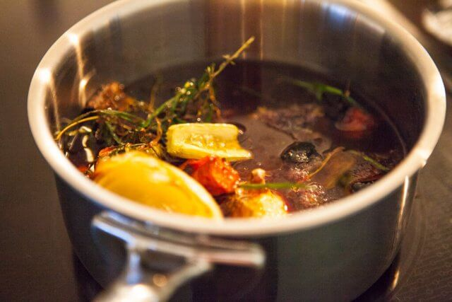 pot with beef broth