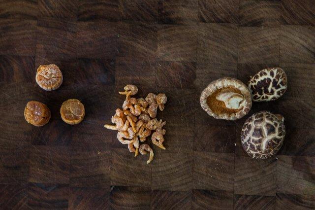 Slow Cooker Bone Broth Recipe - Asian dried scallops, dried shrimp and black mushrooms